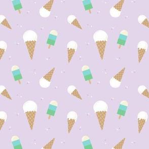 Ice Cream Cone & Lollie - Purple // kids design nursery cute summer