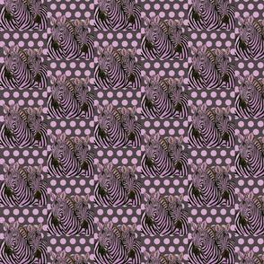 Black and Lavender Zebras on polka dot background