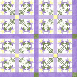 Cheater Quilt Double Peony Pattern Lilac Green Yellow