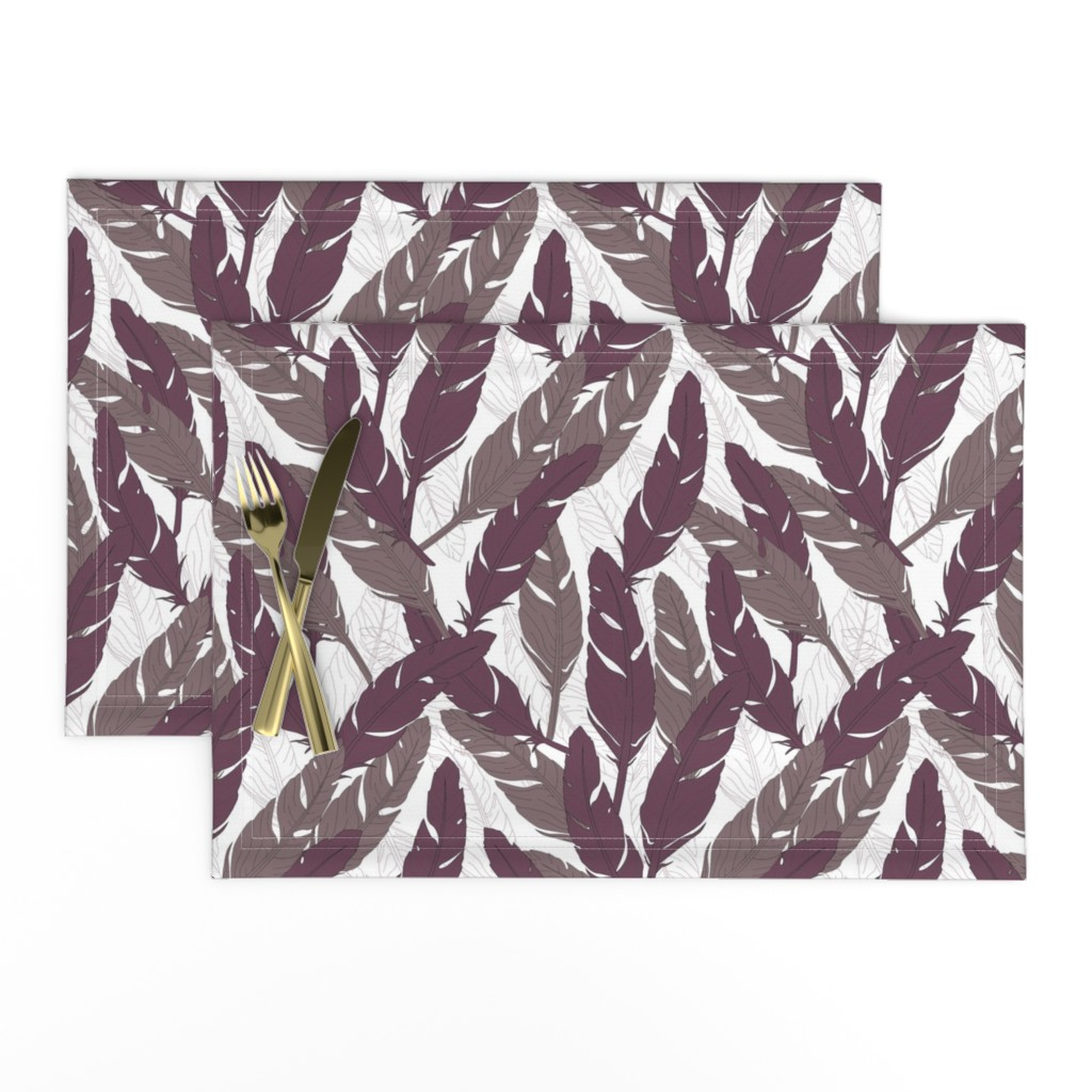 Lamona Cloth Placemats featuring feathers Purple by lucaswoolleydesigns