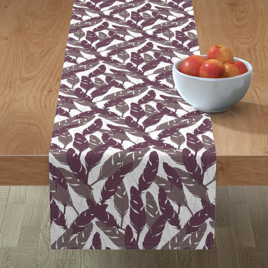 Minorca Table Runner featuring feathers Purple by lucaswoolleydesigns