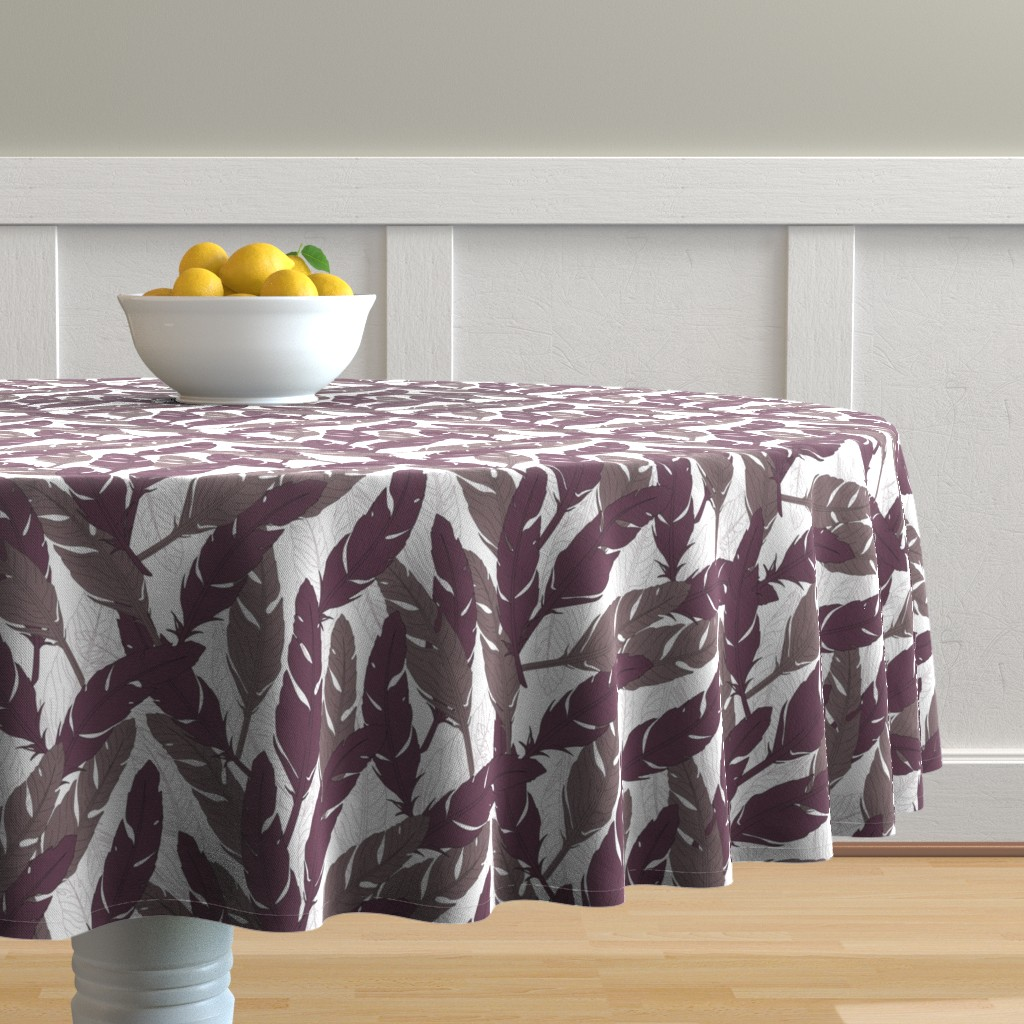 Malay Round Tablecloth featuring feathers Purple by lucaswoolleydesigns