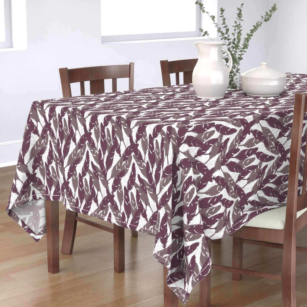 Bantam Rectangular Tablecloth featuring feathers Purple by lucaswoolleydesigns