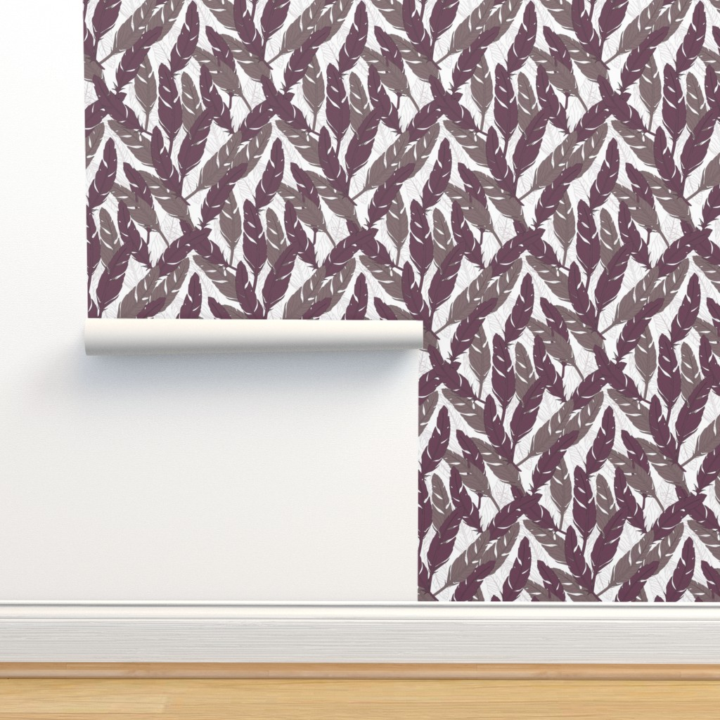 Isobar Durable Wallpaper featuring feathers Purple by lucaswoolleydesigns
