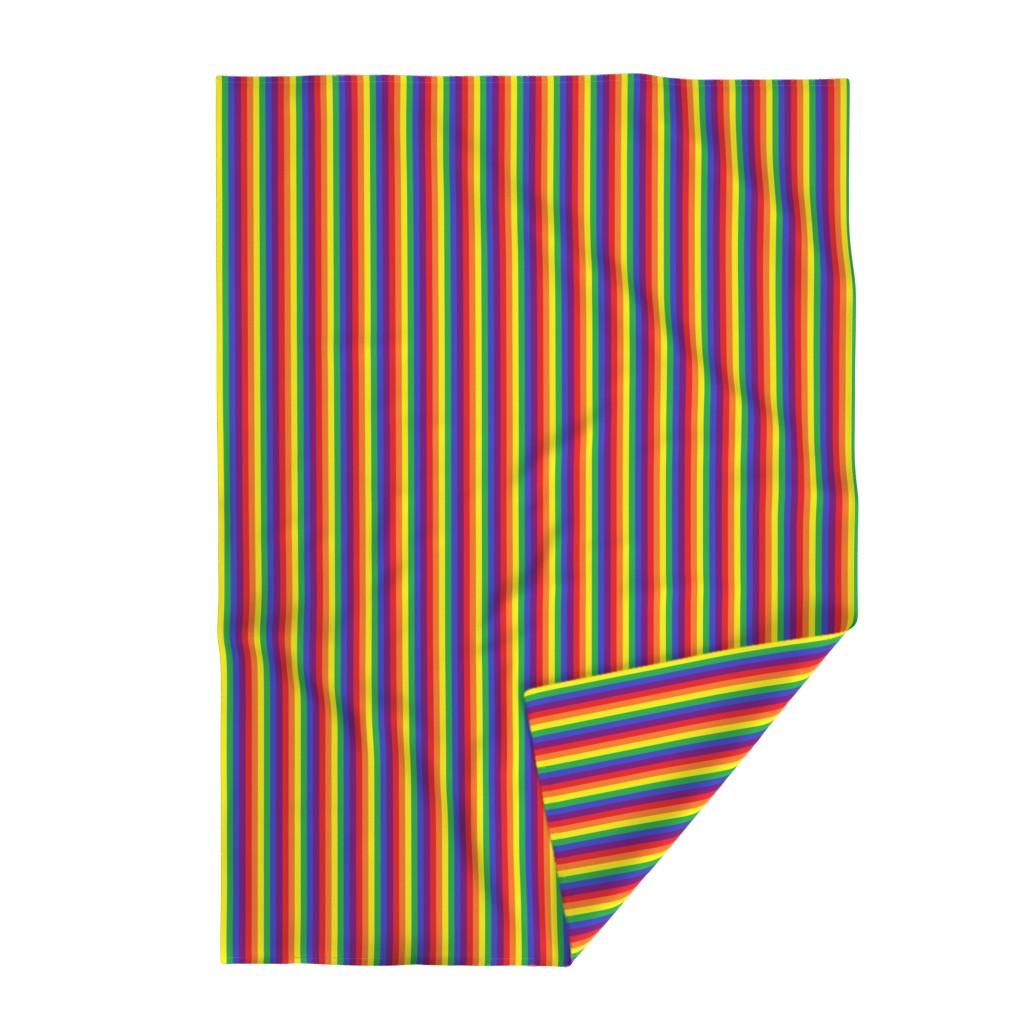 Lakenvelder Throw Blanket featuring Rainbow Pride Stripes 1/2 inch (vertical) by abandonedwarehouse