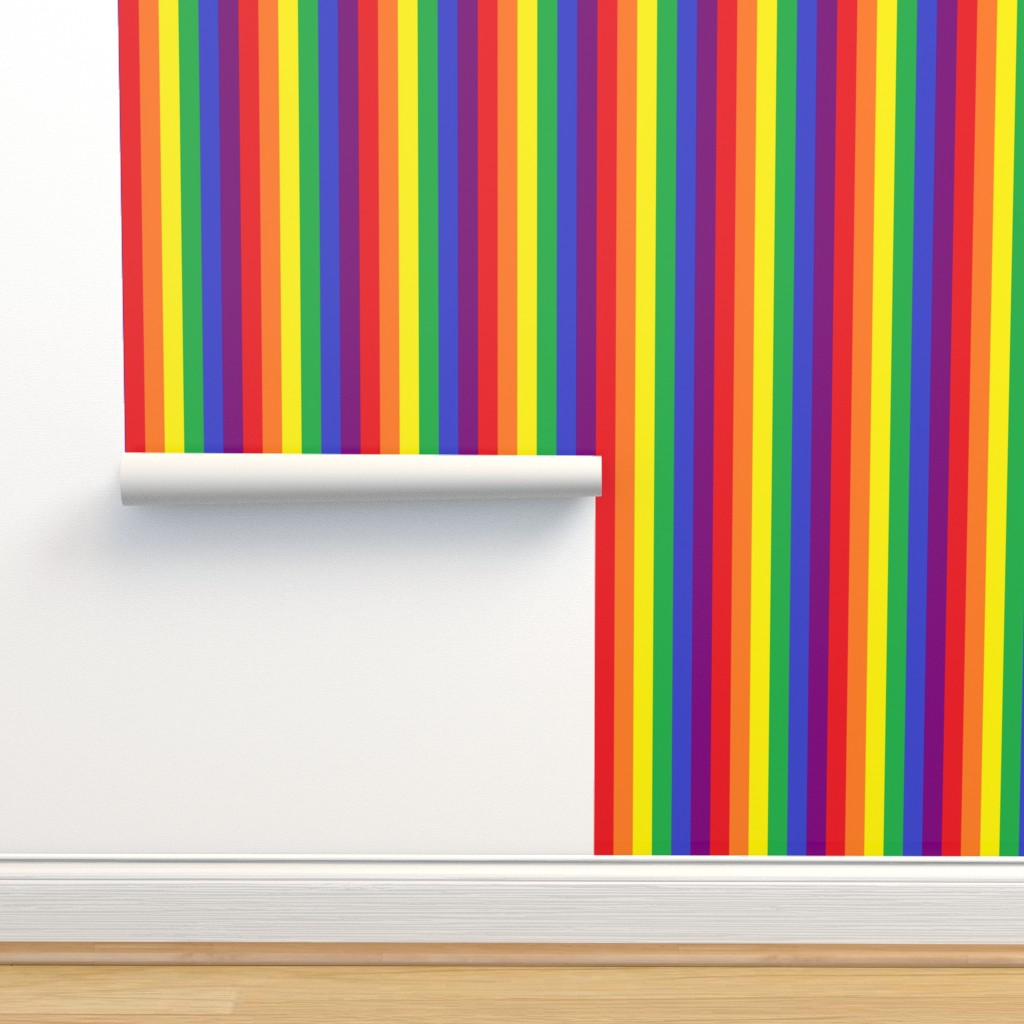 Isobar Durable Wallpaper featuring Rainbow Pride Stripes 1/2 inch (vertical) by abandonedwarehouse