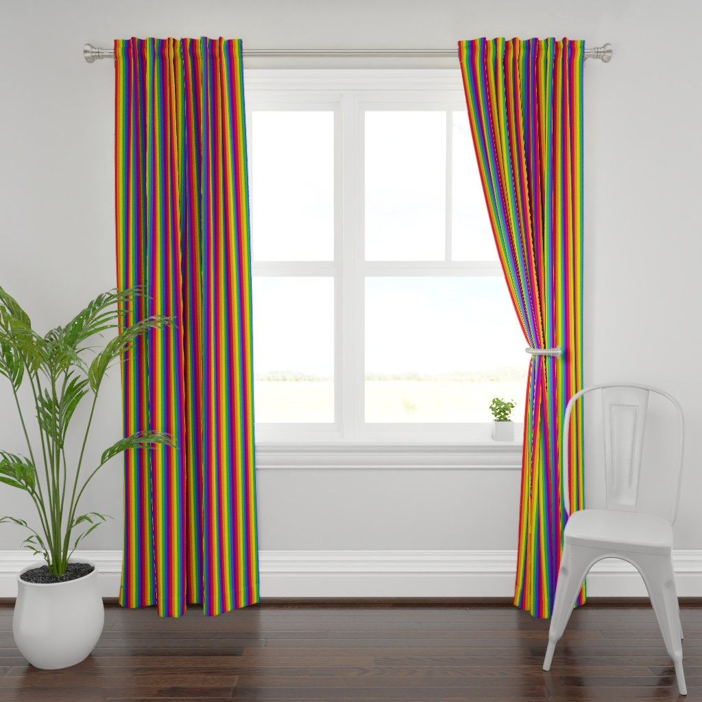 Plymouth Curtain Panel featuring Rainbow Pride Stripes 1/2 inch (vertical) by abandonedwarehouse