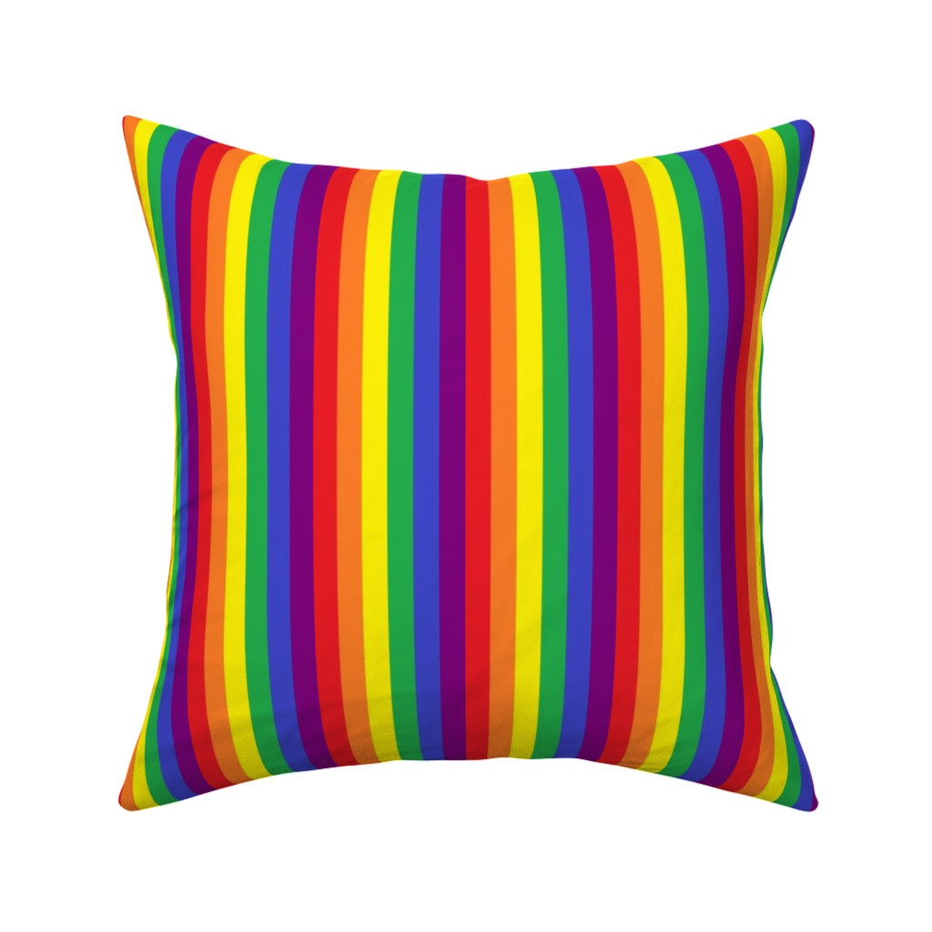 Catalan Throw Pillow featuring Rainbow Pride Stripes 1/2 inch (vertical) by abandonedwarehouse