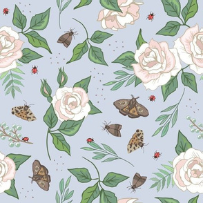 White Roses and Moths on Blue
