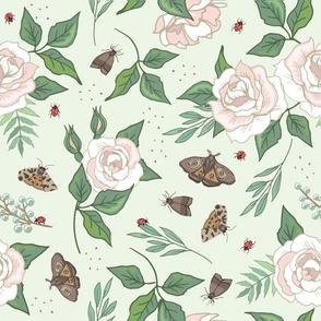 White Roses & Moths on Green