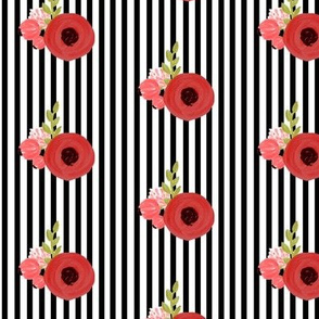 Red roses on Black and White Stripes