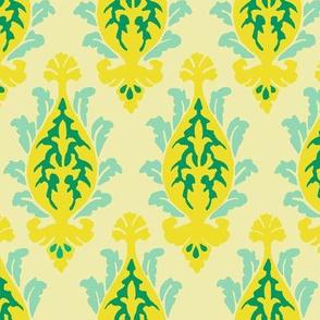 damask yellow and aqua