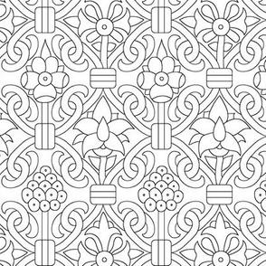 Elizabethan Carpet Floral Blackwork