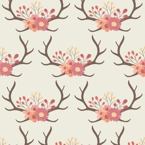 Floral Antlers - Cream