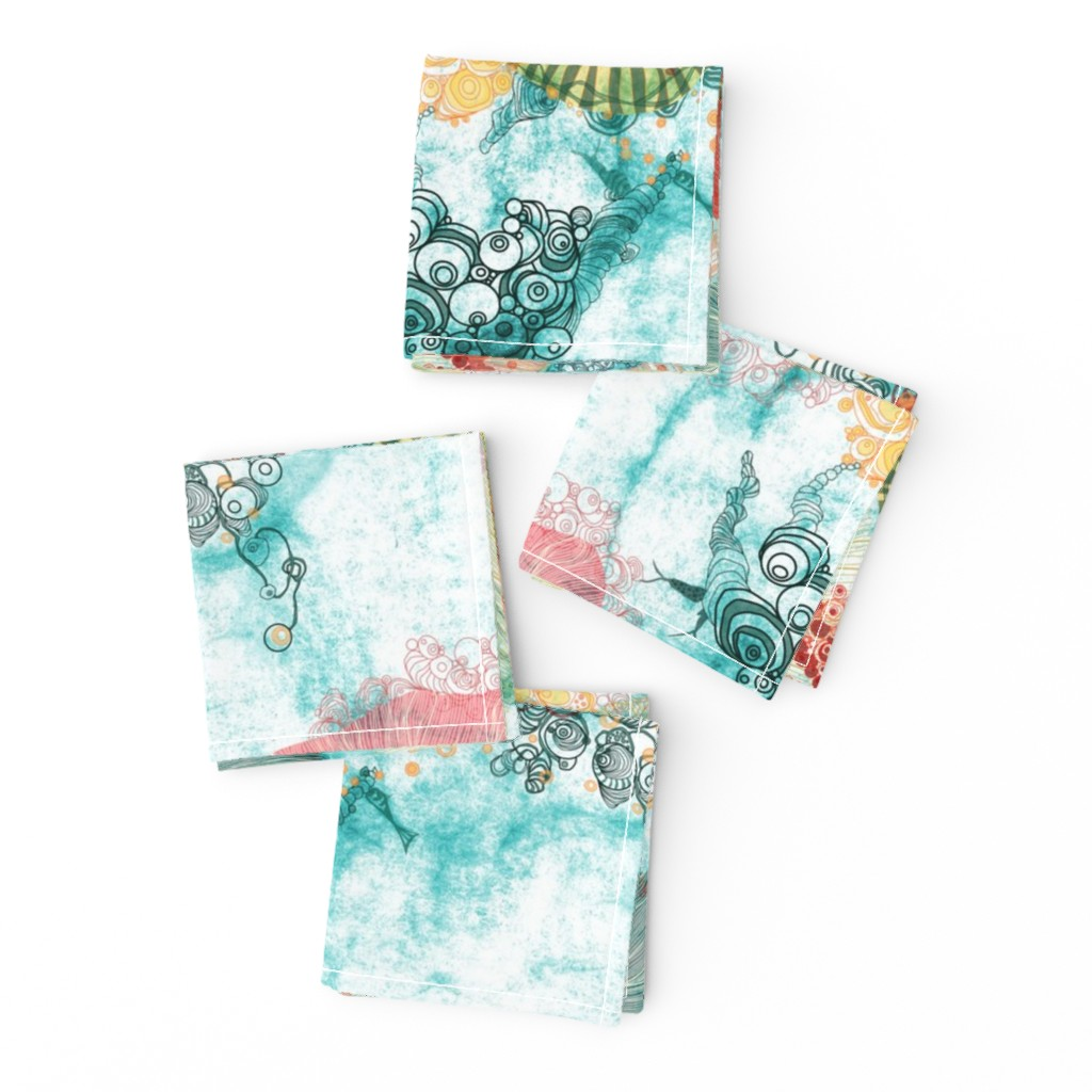 Frizzle Cocktail Napkins featuring life at sea in aqua with Urchins and jelly fish by mimipinto