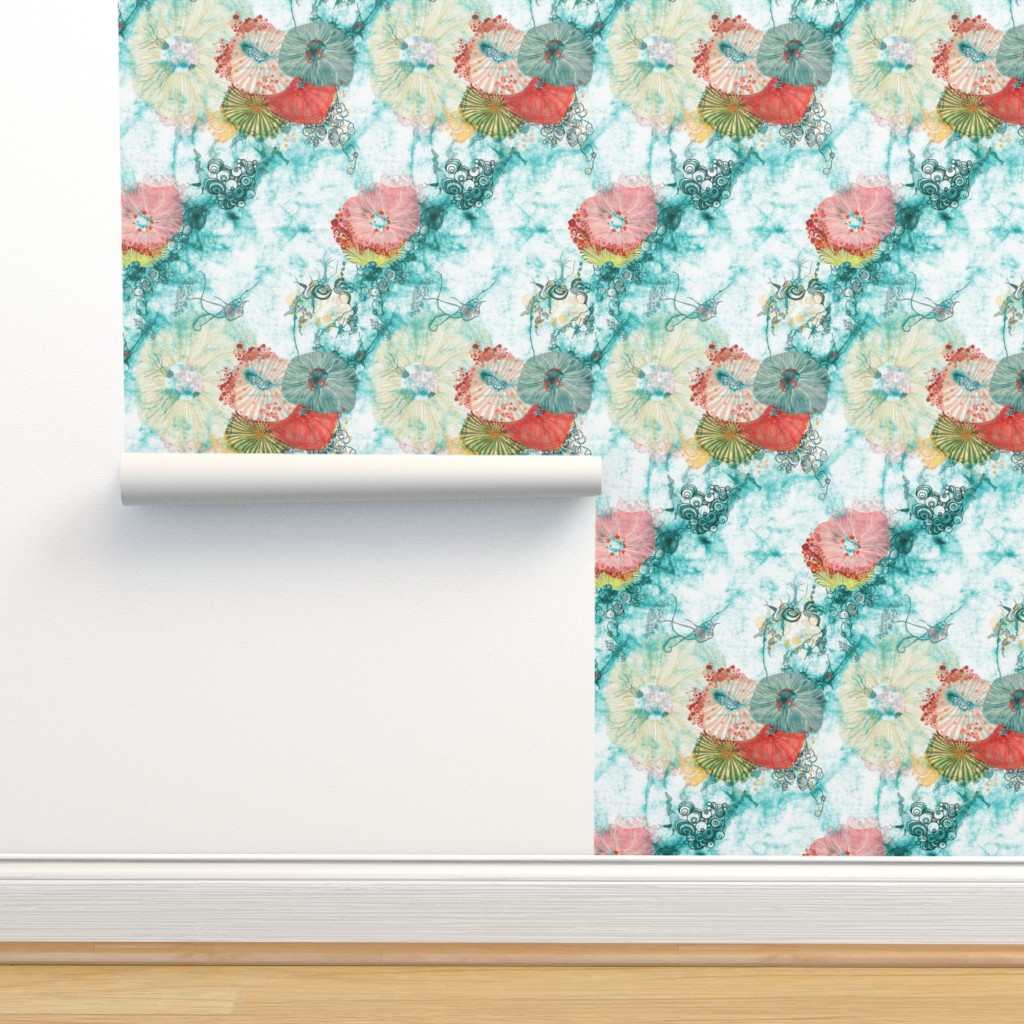 Isobar Durable Wallpaper featuring life at sea in aqua with Urchins and jelly fish by mimipinto