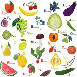 English alphabet with fruit and vegetables