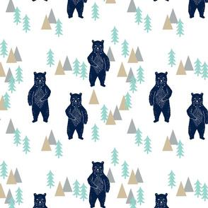 forest bear // khaki mint navy blue boys nursery forest woodland camping