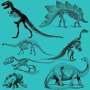 Vintage Museum Skeletons | Dinosaurs on Teal Green