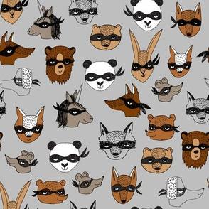 bandit animals // grey dressup fabric cute fancy dress animals illustration andrea lauren design cute animals creatures