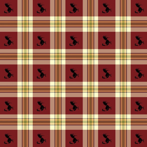 Rooster on plaid-ed