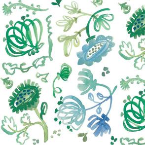 watercolor green flowers