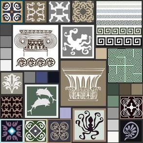 Greece motifs patchwork pattern.