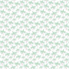 Summer palm tree beach coconut pastel bikini tropics illustration print in mint XS