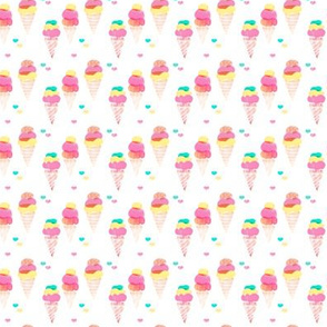 Water color ice cream cone popsicle colorful summer candy food kids illustration pattern print XS