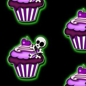 Glowing Green Skull Cupcakes
