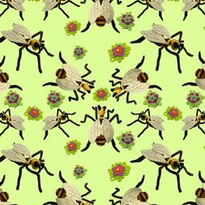 Felt Bee Sculptures and Flowers in Key Lime