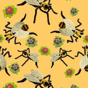 Felt Bee Sculptures and Flowers on Orange