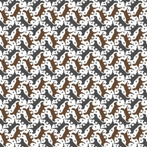 Tiny Trotting Flat coated Retrievers and paw prints - white
