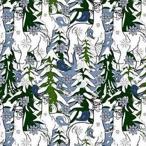Alpacas New Winter Animals, Trees, Birds and Snowflakes Fabric