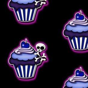 Purple Glowing Skull Cupcakes