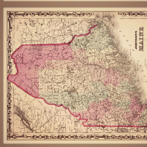 Vintage Maine map, small
