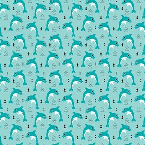 Cute geometric dolphins cute kids fish illustration summer print blue aqua XS