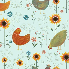 Chickens in the Garden - turquoise