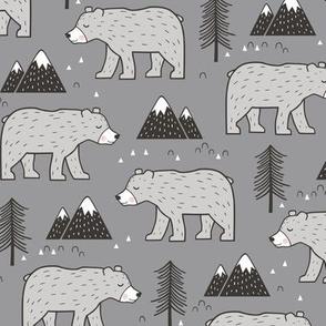 Mountain Bear  Woodland on Dark Grey
