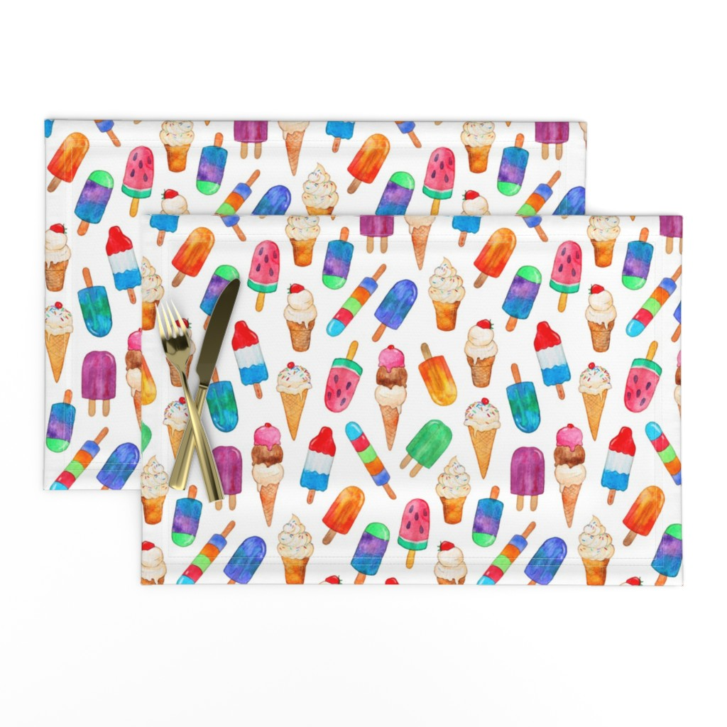 Lamona Cloth Placemats featuring Watercolor Summer Ice Creams on White by micklyn
