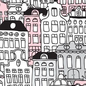 Amsterdam home architecture illustration XL