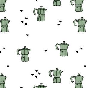 We love coffee fun moka machine italian coffee maker drink illustration for hipster barista an coffee lovers illustration print mint black and white XL