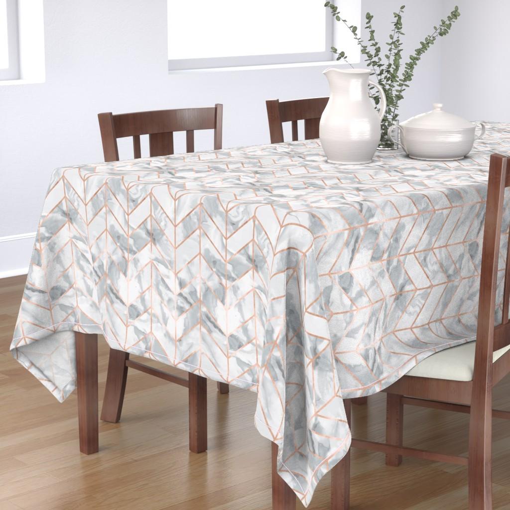 Bantam Rectangular Tablecloth featuring Carrera Marble Herringbone / Rose Gold Gilt by willowlanetextiles