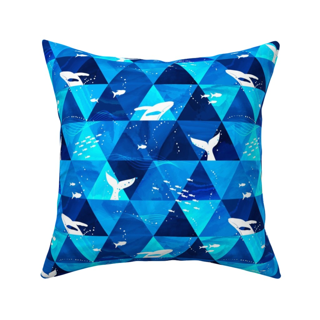 Catalan Throw Pillow featuring Blue Whales Singing by mia_valdez