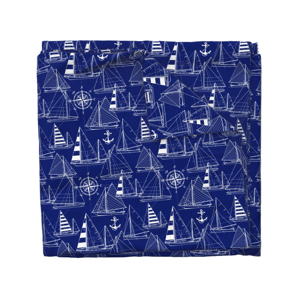 Wyandotte Duvet Cover featuring sailboats - white on navy by mirabelleprint