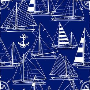 sailboats - white on navy