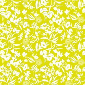 tropical blooms - white/chartreuse