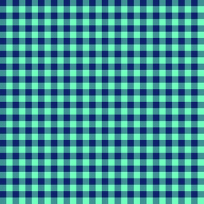 "1/4"" Hawaiian gingham - navy and aqua"