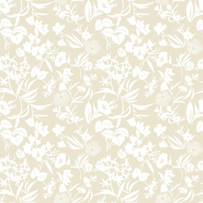 tropical blooms - white/sand