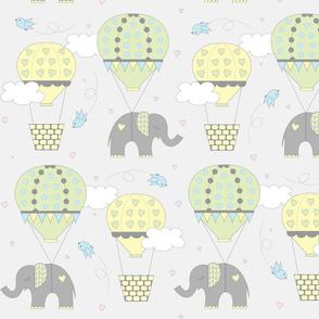 Hot Air Balloon Elephant Yellow Green